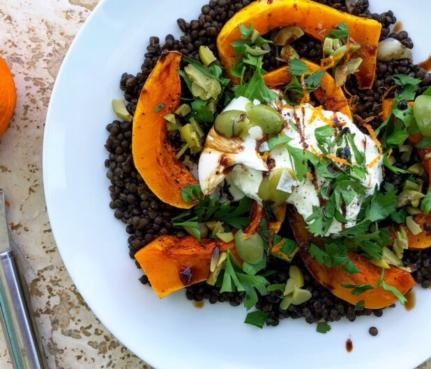 Black Lentil and Butternut Squash Salad with Burrata and Olives