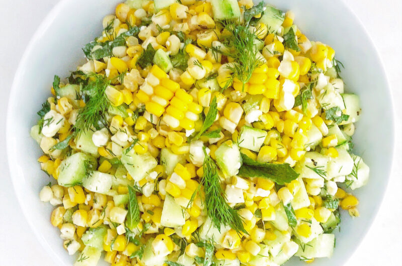 Corn Cucumber and Feta Salad