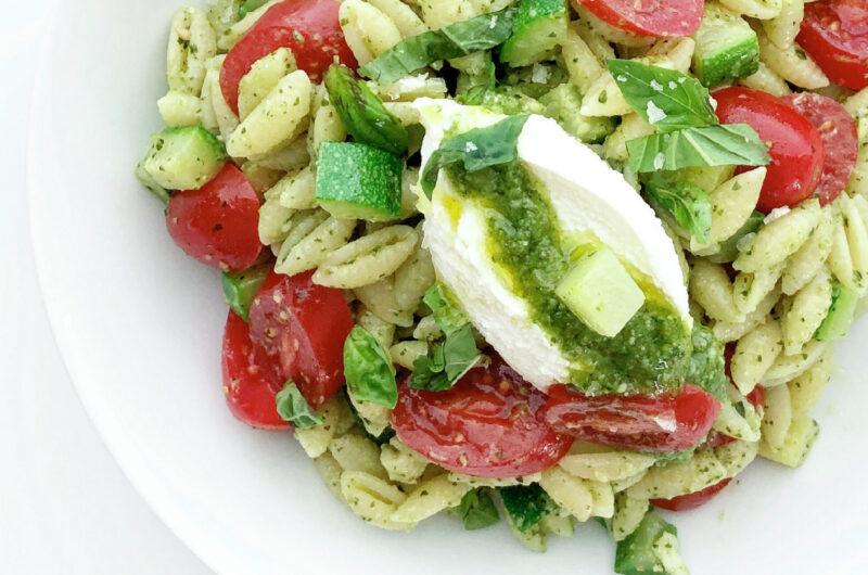 Pesto Cavatelli with Zucchini, Tomatoes, and Ricotta Cheese